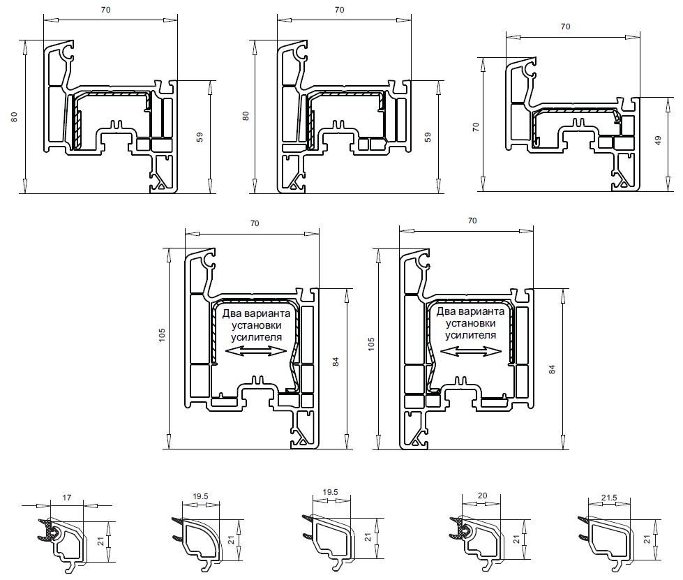 Размеры профиля VEKA Softline