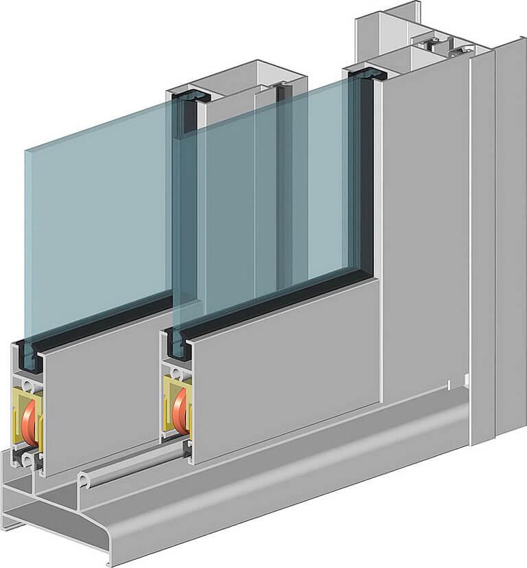 Раздвижные алюминиевые окна для балконов ALT100 в Севастополе