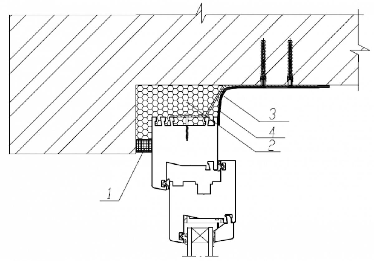 Узел верхнего (бокового) примыкания оконного блока к проему с четвертью в стене из кирпича с применением ленты ПСУЛ без отделки внутреннего откоса