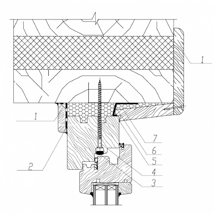 Узел верхнего (бокового) узла примыкания деревянного оконного блока к проему в стене из бревна и бруса