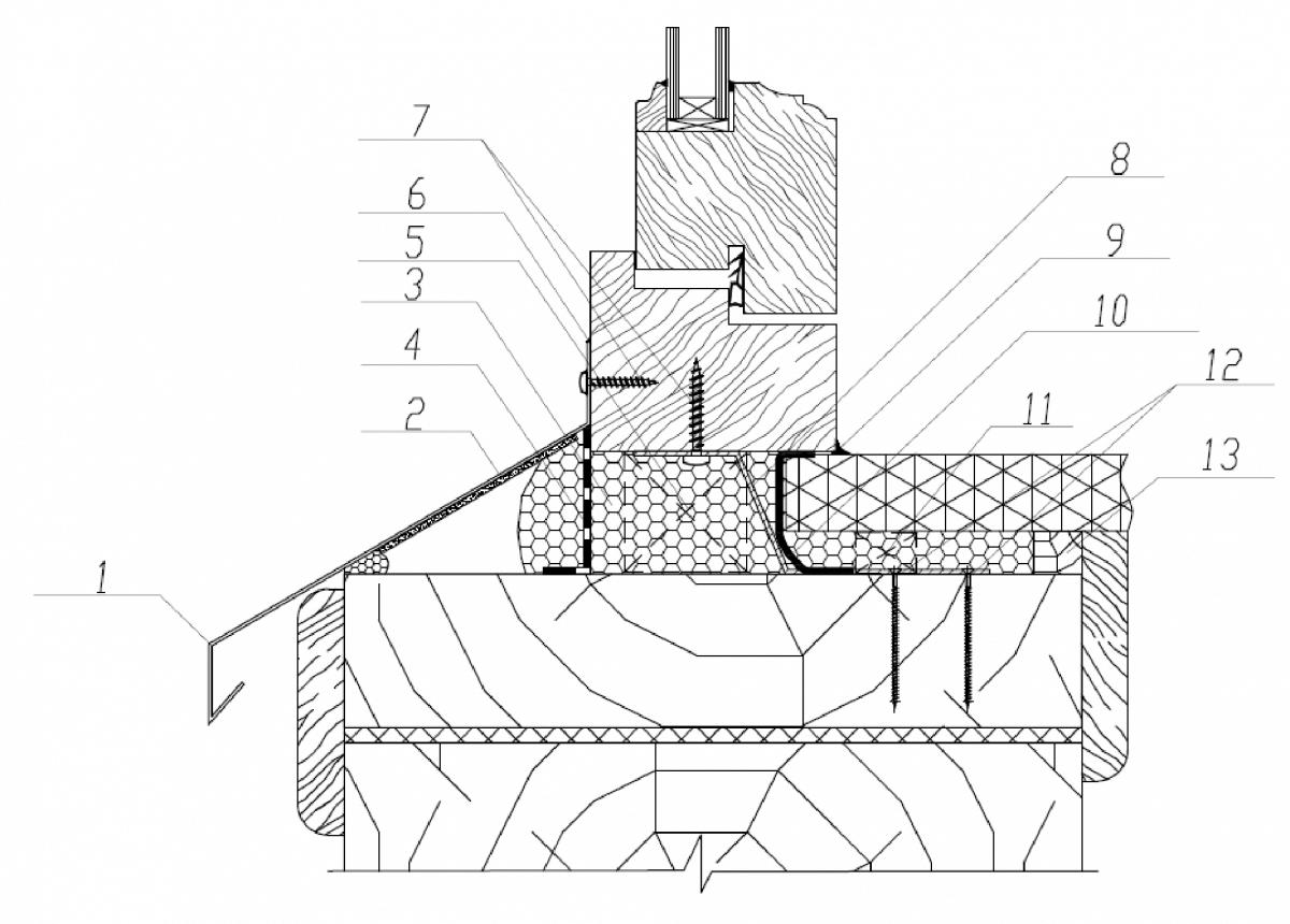 Узел нижнего узла примыкания деревянного оконного блока к проему в деревянной стене