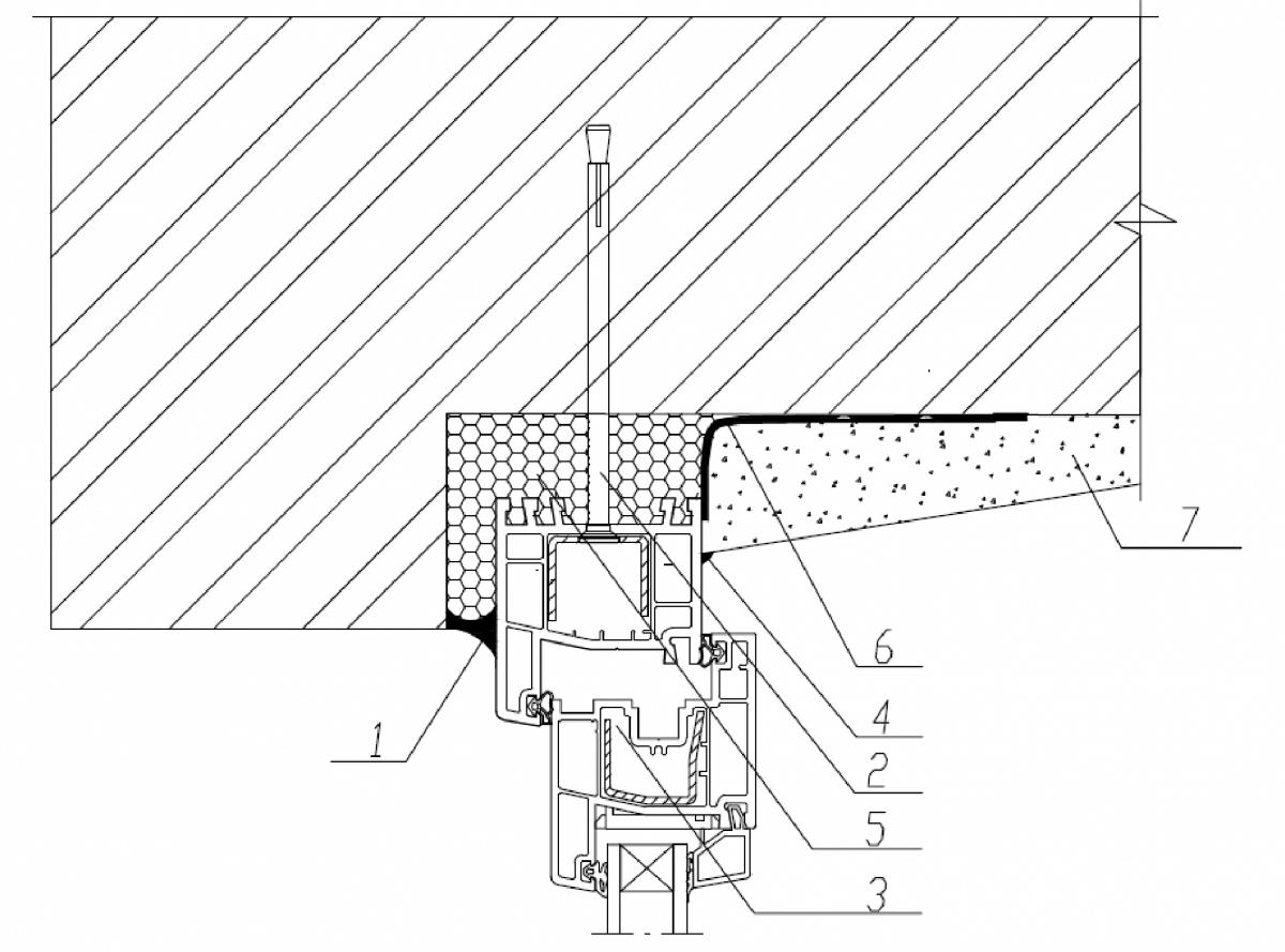 Узел верхнего (бокового) примыкания оконного блока к проему с четвертью в стене из кирпича с применением паропроницаемого герметика с отделкой внутреннего откоса штукатурным раствором