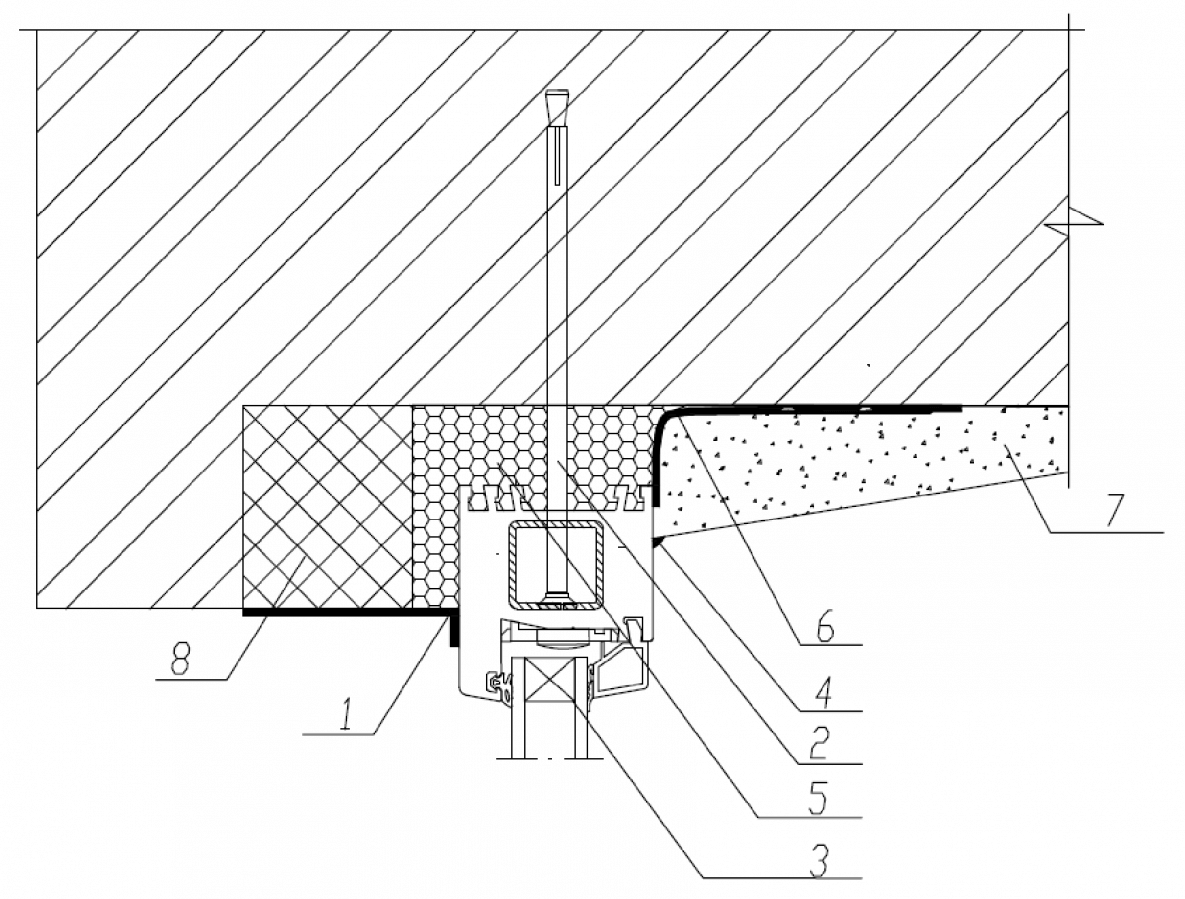 Узел верхнего (бокового) примыкания оконного блока к проему с четвертью в стене из кирпича со смещением во внутрь с применением паропроницаемого герметика с отделкой внутреннего откоса штукатурным раствором