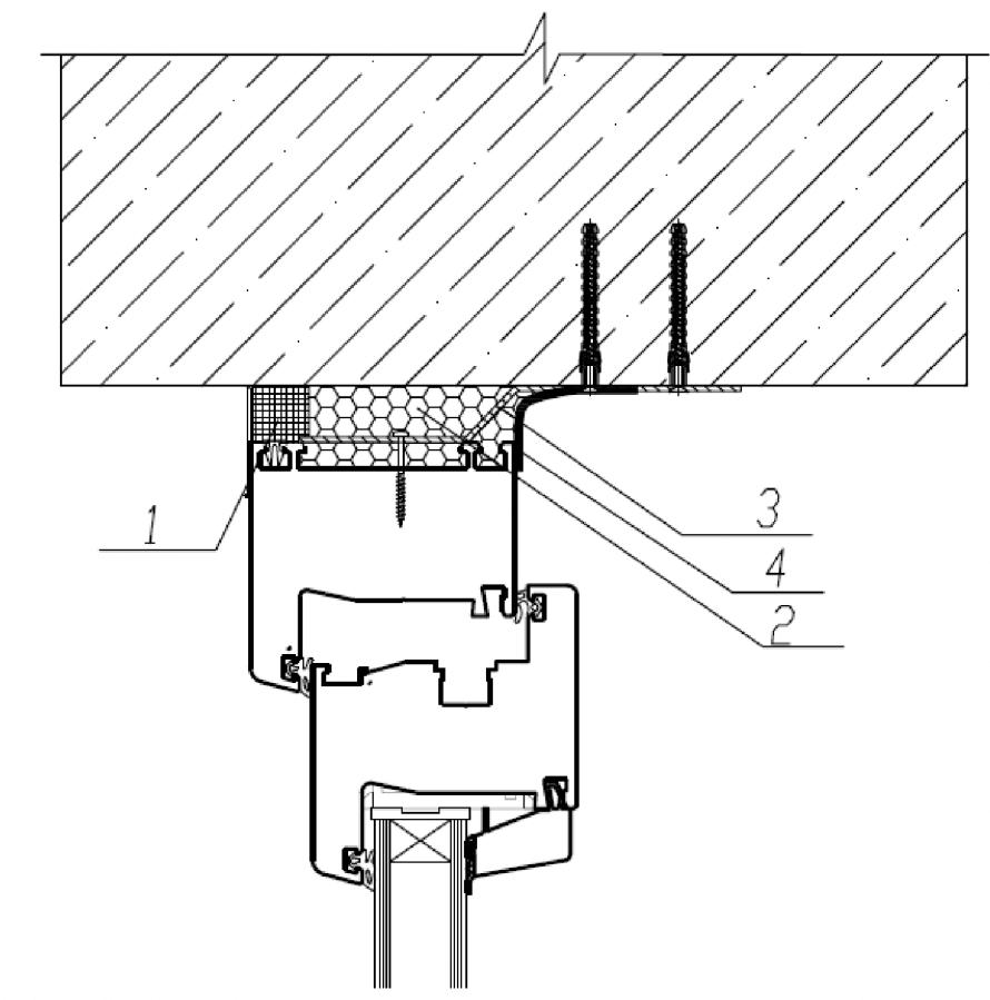 Узел верхнего (бокового) примыкания оконного блока к проему без четверти в однослойной бетонной панельной стене с применением ПСУЛ