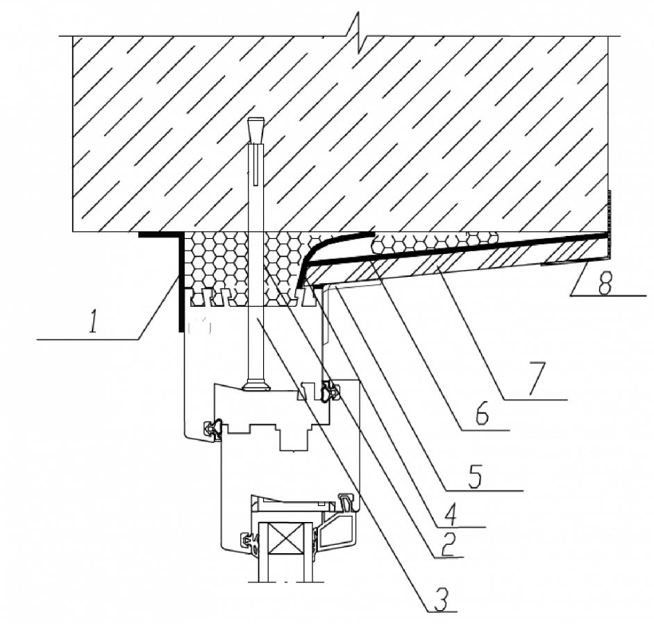 Узел верхнего (бокового) примыкания оконного блока к проему без четверти в однослойной бетонной панельной стене с применением герметиков и отделкой внутреннего откоса влагостойким гипсокартонным листом