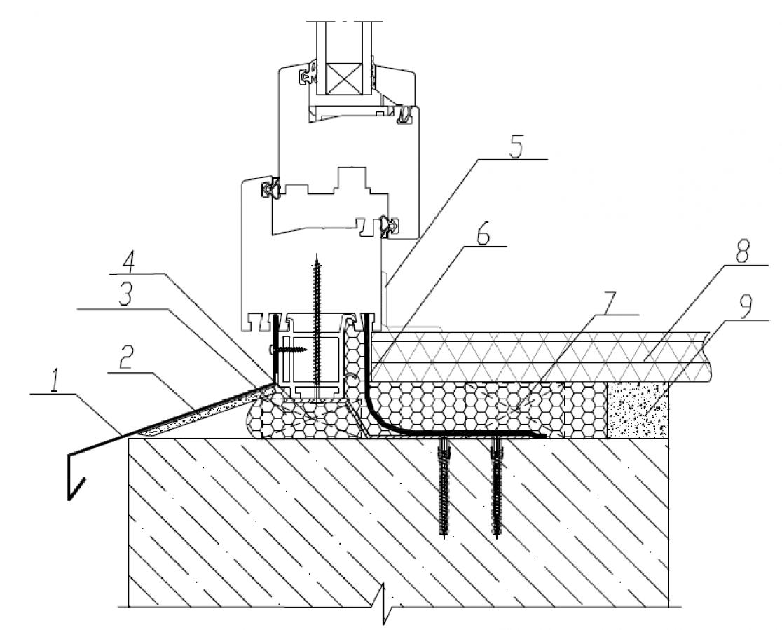 Узел нижнего примыкания оконного блока к проему без четверти в однослойной бетонной панельной стене с применением пароизоляционной ленты