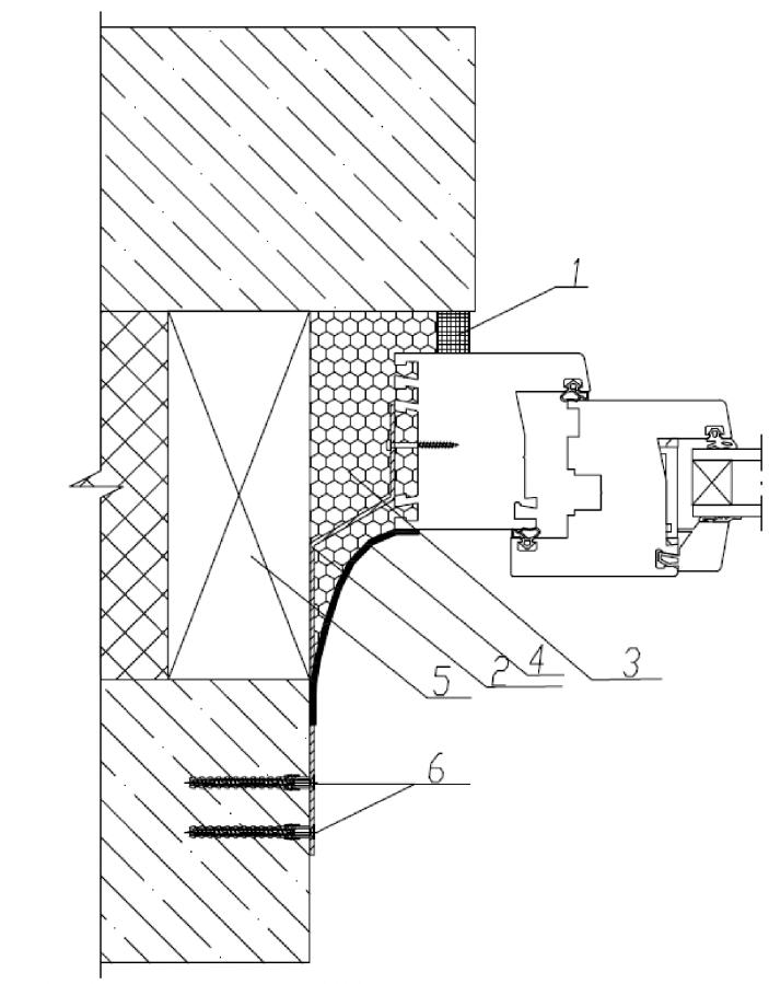 Узел бокового (верхнего) примыкания оконного блока к проему в трехслойной бетонной панельной стене с эффективным утеплителем с применением ПСУЛ и пароизоляционной ленты
