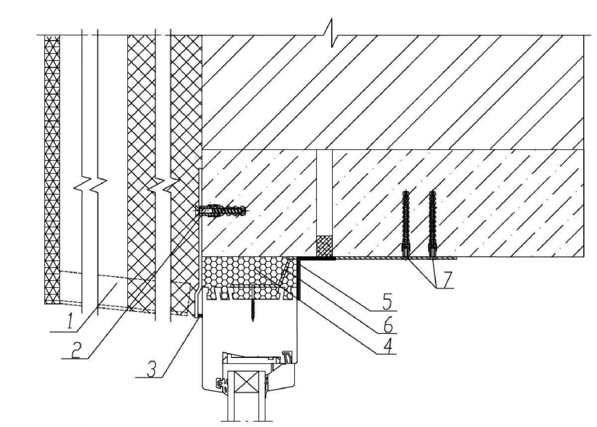 Узел верхнего (бокового) узла примыкания к проему в стене с вентилируемым фасадом с облицовкой кирпичом с применением герметиков