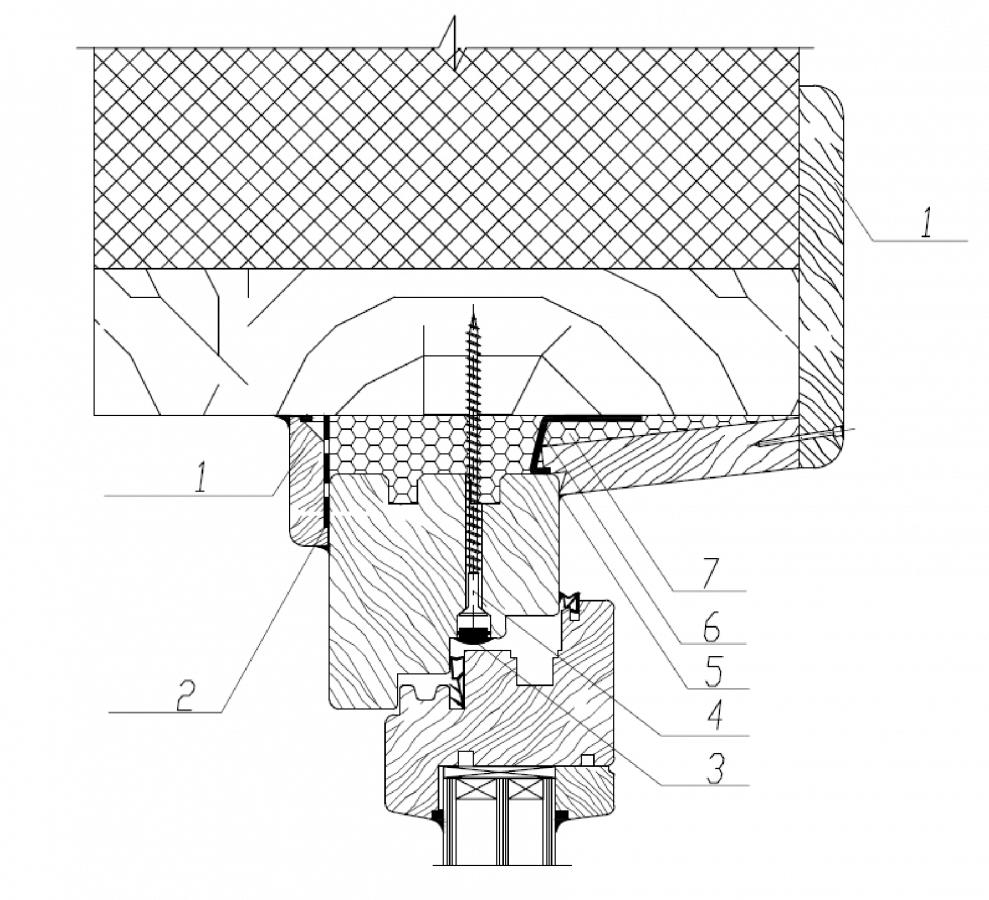 Узел верхнего (бокового) узла примыкания деревянного оконного блока к проему в каркасной стене