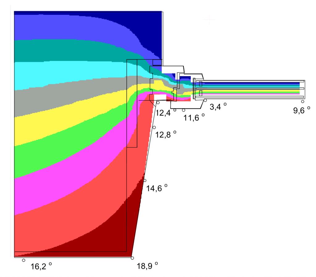 Результаты расчета распределения температур по узлу примыкания оконного блока из клееной древесины к стене из полнотелого кирпича