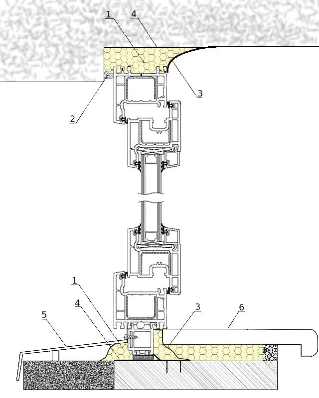 Схема установки оконного блока по ГОСТ 30971-2012