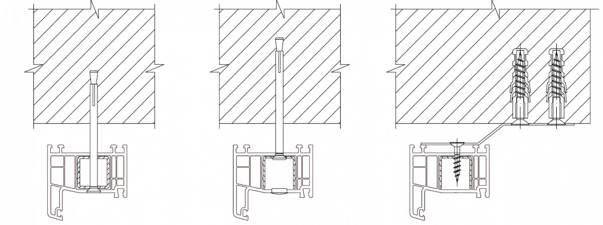 Схемы крепления оконных блоков к стене